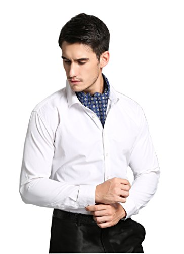 prettystern Pañuelo de seda para hombres y ascot de dos capas 3. azul