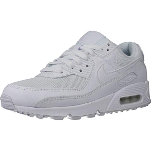 Nike Damen Air Max 90 Women's Shoe Laufschuh, White/White-White-Wolf Grey, 38 EU