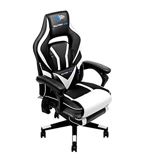 Sedia da gioco per massaggi E-sport Poggiapiedi per computer, sedie da ufficio con subwoofer Bluetooth regolabile in pelle girevole per adolescenti (nero e bianco)