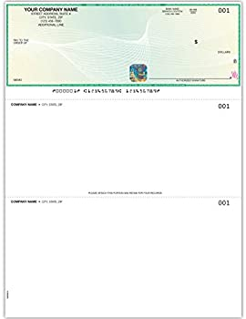EZ Checks Custom Printed Hologram High Security Laser Business Checks | Check at Top | Green/Yellow | Qty 500 | QuickBooks Compatible