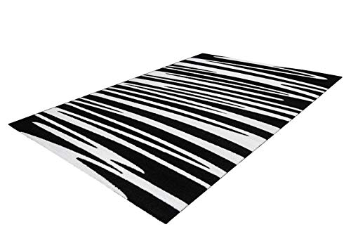 One Couture Teppich Zick Zack Schlangen Linien Streifen Modern Schwarz Weiß Wohnzimmerteppich Esszimmerteppich Teppichläufer Flur-Läufer, Größe:80cm x 150cm