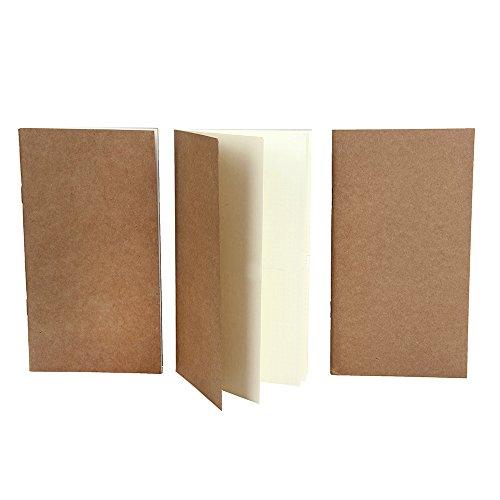 XUAN Tagebuch Schlicht, Notizbuch/Traveler's Notebook Refills, Travel Journal Refills Dotted Journal Einlagen, Papier Gepunktet Punktiert Dot, 64 Seiten x 3 Stück, 19 x 10.5 cm