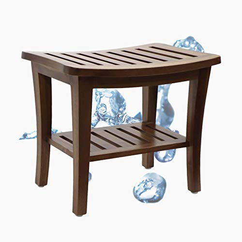 Teak Shower Stool & Bench with Storage Shelf, Spa Bath Chair, Waterproof Shower Bath Seats for Adults, Elderly, Seniors, Disabled, Women, Handicap, 350 lbs Weight Capacity