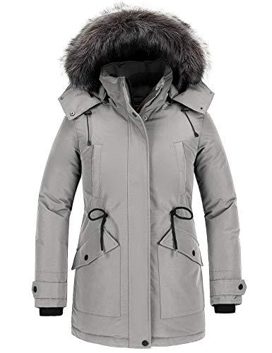 CHIN·MOON Chaqueta Acolchada a Prueba de Viento Abrigo Forro Polar Grueso Parka de Moda Slim Fit Abrigo Entretiempo Bolsillos Múltiples Mujeres Gris Small