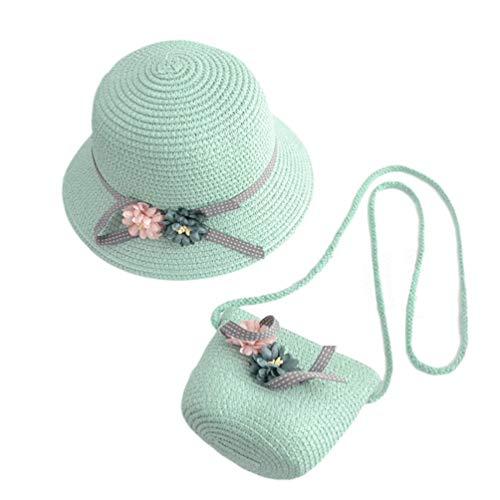 NUOBESTY Sombrero y Bolso de Paja, Flores Sombrero de Paja para El Sol Sombrero Playa Gorras Verano Sombrero Fiesta de té Billetera para Niñas de 3 a 12 Años (Rosa)