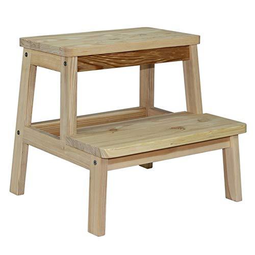 Stair stoel Massief houten krukje Kleine kinderen bank poef Slip bank Double-layer schoen bank Foot ontlasting stair kruk (Color : B)