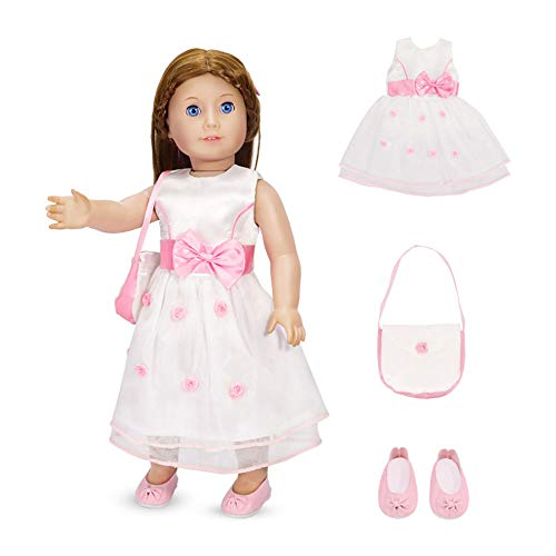 18 Inch Doll Clothes - Fancy Flower Dress with Matching Pink Dress Shoes and Purse Fits American Girl Dolls
