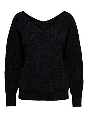 Only ONLMELTON Life L/S Pullover Knt Noos Maglione, Black, S Donna