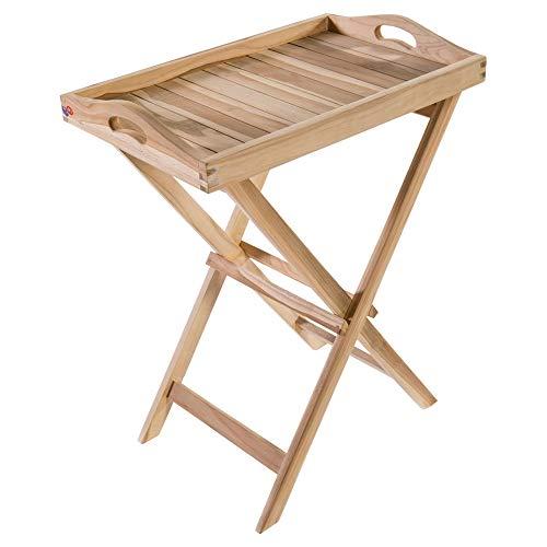 MACOShopde by MACO Möbel Stehtablett, Serviertisch, Servier Tablett Tisch - Klappbarer Beistelltisch, Holztisch, Tabletttisch mit Ständer, Serviertablett