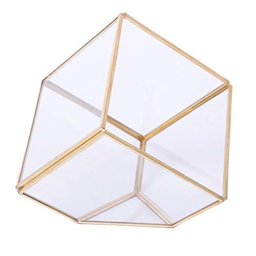 Vanity Makeup Organizer Simple Geometric Glass Flower Room Jewelry Jewelry Storage Box Three-Dimensional Decorative Box (Color : Multi-Colored, Size : One Size)
