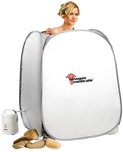 newgen medicals Einmannsauna: 2in1-Heim-Dampfbad und Sauna, portabel, 1.000-Watt-Generator & Timer...