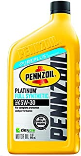 Pennzoil Platinum Full Synthetic Motor Oil 5W-30, 1 Quart - Pack of 1