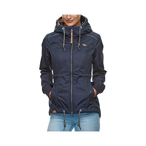 Ragwear Damen DANKA Übergangsjacke, Frauen Jacke mit Kapuze,Sommerjacke,leichte Jacke,wasserdicht,Regular Fit,Blau,XL