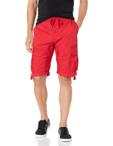 Southpole Men's Jogger Shorts with Cargo Pockets in Solid and Camo Colors, Red(New), Large