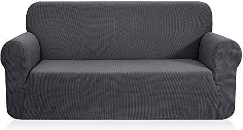 Generies Funda de sofá Jacquard de 1 Pieza, Funda de sofá, Funda de sofá, Funda de sofá para sofá, sillón, sillón, Colores múltiples (2 plazas, Gris)