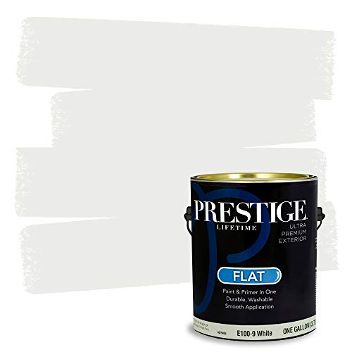 Prestige Exterior Paint and Primer In One, 1-Gallon, Flat, White