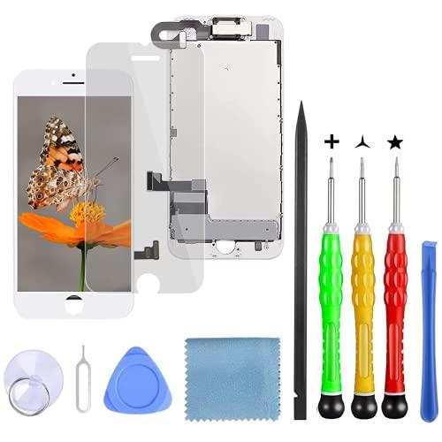 Lansupp Pantalla para iPhone 8 Plus Blanco, Táctil LCD Reemplazo con Cámara Frontal, Sensor de proximidad, Altavoz y Kit de reparación