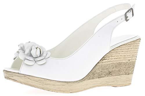 Andrea Conti Damen Keilsandalette 1673415 Offene Sandalen mit Keilabsatz, Größe:38 EU, Farbe:weiß/Silber