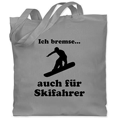 Shirtracer Wintersport - Snowboard - Ich bremse auch für Skifahrer - Unisize - Hellgrau WM101 - Stoffbeutel aus Baumwolle Jutebeutel lange Henkel