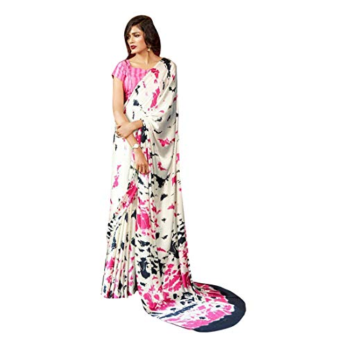 Multi Printed Women's Solid Satin Stylish Party Cocktail Saree Designer Indian Muslim Festival Sari Blouse Blouse 9522