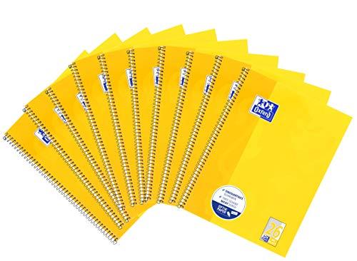 Oxford Schule Collegeblock A4, kariert mit Rand, 80 Blatt, gelb, 10er Pack