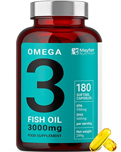 Omega 3 Fish Oil - 180 High Strength Capsules - 990mg EPA & 660mg DHA per Daily Serving - 2 Months Supply - Made in UK