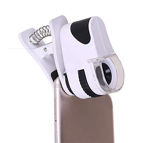 ZJN-JN 拡大鏡 ルーペ 拡大鏡のUSB充電式の携帯電話の写真を60×LEDライトのためにお金の検出器高倍率ジュエリー識別モバイル拡大鏡付きズーム携帯電話のクリップ 読み物に便利