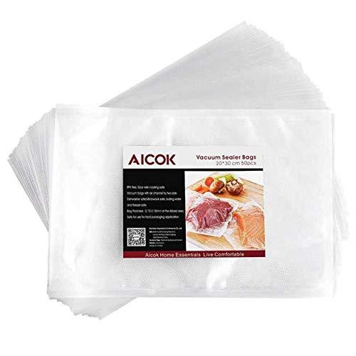 Aicok Bolsas Envasado al Vacío, 50 Piezas 20x30 cm, Bolsas de Vacío para Envasadoras y Cocción al Vacío Ideal para Cocina, Bolsas de Vacío Profesional para Alimentos