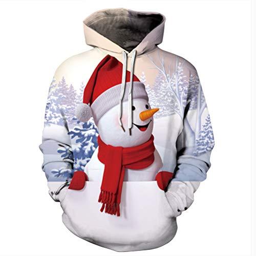 LXYDD 2020 Neue Freizeitkleidung Herbstkleidung Weihnachten Schneemann Digitaldruck Langarm Lose Jacke,002,XXXXL