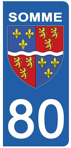 DECO-IDEES 2 Stickers pour Plaque d'immatriculation - 80 - Blason LA SOMME- Stickers Garanti 5 Ans