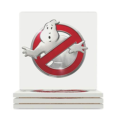 Fineiwillgo Posavasos de cerámica con logotipo de Ghostbusters, resistente al calor, posavasos de cerámica con base de corcho, divertido para bebidas, oficina, 9,4 x 9,4 cm, color blanco, 4 unidades