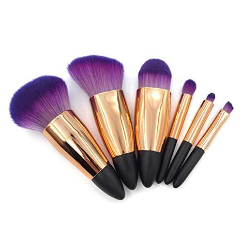 Ensemble de pinceaux de maquillage, 6 pièces pinceaux de maquillage professionnel pinceau de fond de teint mélangeant poudre pour le visage fards à joues correcteurs cosmétiques pour les yeux kits