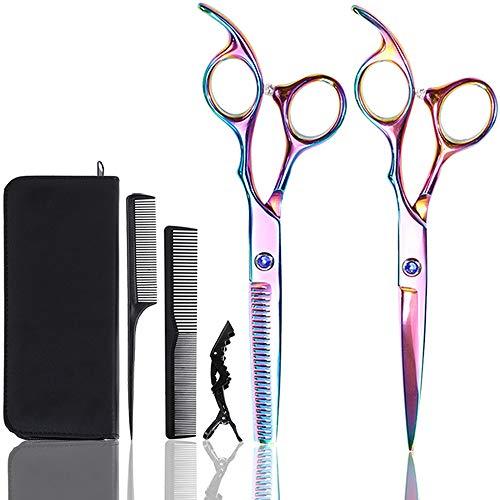 Forbici Parrucchiere Professionali - Barbiere Parrucchiere Forbici 2 Pezzi 6.0 Pollici + Pettine nero + Pinze