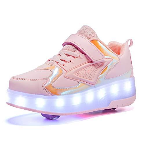 GGBLCS LED Zapatillas con Ruedas para Niños Niñas Automática Retráctiles Zapatos con 2 Ruedas Ajustables Skate Roller Deportivos Zapatos Carga USB Luminosas Flash Patines Sneaker,Rosado,33 EU