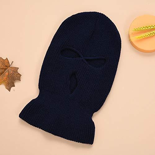 Mscara de Cubierta de Cara Completa Sombrero de Punto de Tres Agujeros de Invierno Mscara de Ciclismo de esqu Gorro Bufanda Mscaras faciales Calientes-Navy Blue-One Size