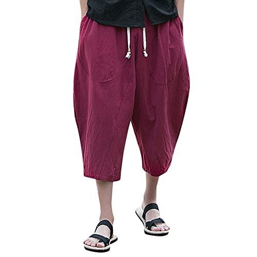 joyvio Pantalones Cortos Sueltos de Lino de algodón para Hombre 3/4 Verano Casual Boho Pantalones Cortos Largos Cintura elástica Pierna Ancha Playa Pantalones de Yoga (Color : Red, Size : L)