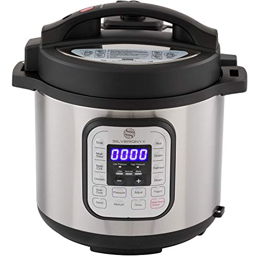 Multi-pot 10-in-1 Programmable Instant Pressure Cooker 6 Quarts with Stainless Steel Pot, Free Recipe Book Included. 1000 Watt Pressure, Slow Cook, Sauté, Rice Cooker, Steamer & Warmer by SilverOnyx