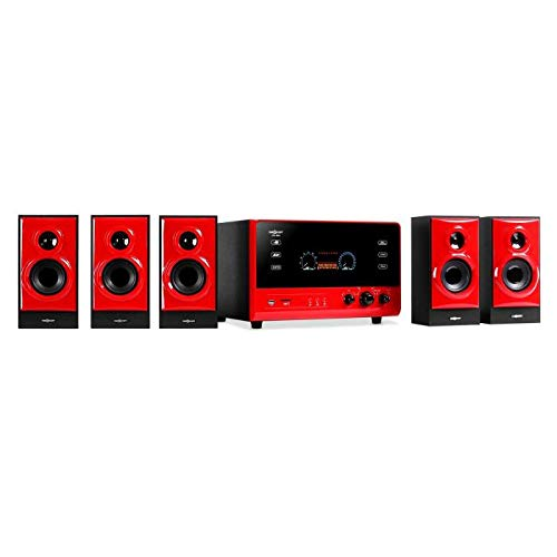 """oneConcept V51 Heimkinosystem - 5.1 Surround Sound System, Leistung: 70 W RMS, UKW Radio, Aktiv Subwoofer, 4\"""" Side-Firing-Tieftöner, Anschlüsse: USB, SD, AUX, 5 x Satellitenlautsprecher, rot"""