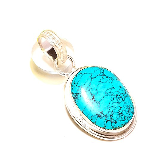 Shivi ¡Turquesa Azul ¡Ropas etnicas Colgante de tamaño pequeño de 1'de Largo, Chapado en Plata de Ley, Hecho a Mano. Joyas