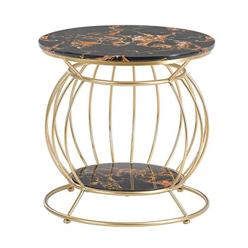 LYYJIAJU Small Coffee Tables Living Room Coffee Table Small Table Marble Pattern Iron Light Coffee Table Double Sofa Side Table Square Table Suitable for Living Room Office (round)