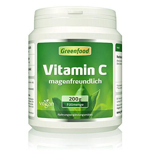 Vitamin C magenfreundlich, 200 g Pulver, gepuffert mit Calcium, vegan – für Immunsystem, schöne Haut, gesunde Gelenke und stabile Knochen. OHNE gentechnik. Ohne künstliche Zusätze. Ohne Säure.