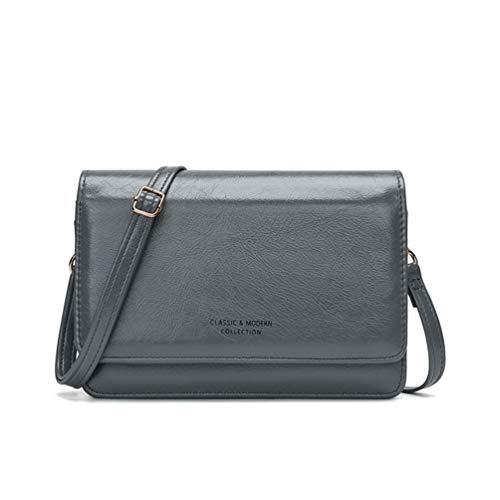 Fanshu Bolsa de teléfono celular con compartimentos Bolsa de hombro con cremallera Bolsa de teléfono celular bolsa de teléfono monedero Mini bolsa de tarjeta correa larga ajustable