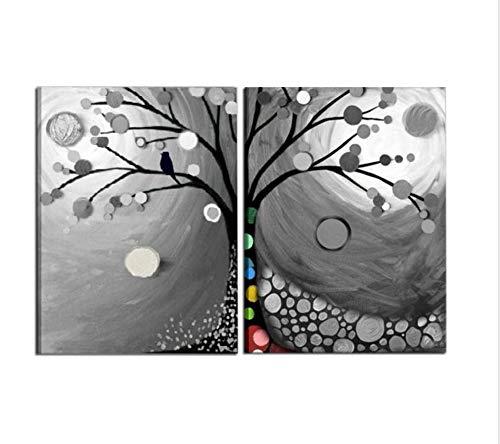 I Colori del Caribe Quadri COMPONIBILI Dipinti A Mano Bianco Grigio Albero per ARREDARE CASA Salone Ufficio Cucina Alta QUALITA' Made in Italy - Rubus