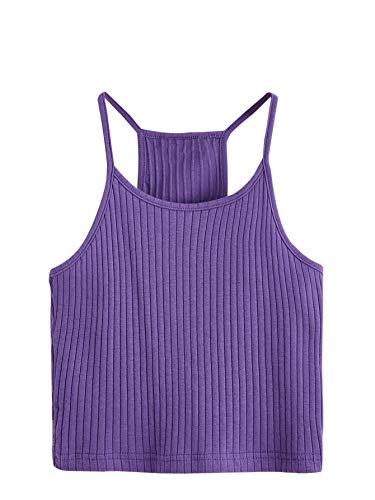 SheIn Women's Summer Basic Sexy Strappy Sleeveless Racerback Crop Top Violet Purple Medium