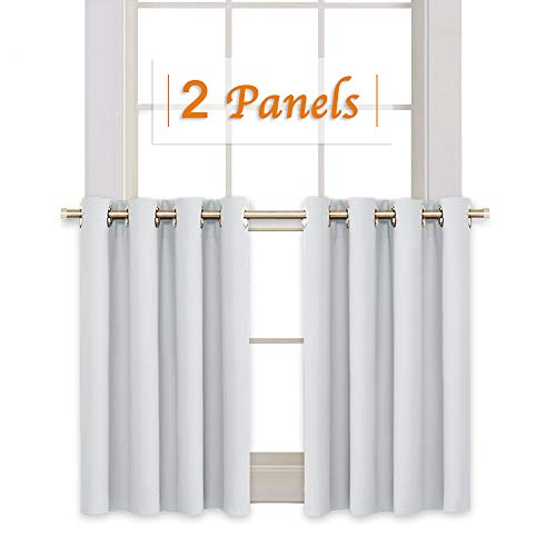 RYB HOME Window Decoration Curtain Tiers Valances Set, Grommet Top Small Curtains for Kitchen Cabinet, Room Darkening Drapery for Laundry, 52 Width x 36 Length Per Panel, Grayish White, 2 Pcs