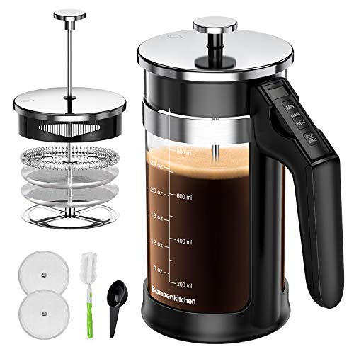 French Press Coffee Tea Maker 33oz Builtin Timer 304 Stainless Steel Coffee Press with 4 Filter for Home Office Coffee Maker Easy Clean Durable Heat Resistant Borosilicate Glass 100% BPA Free …