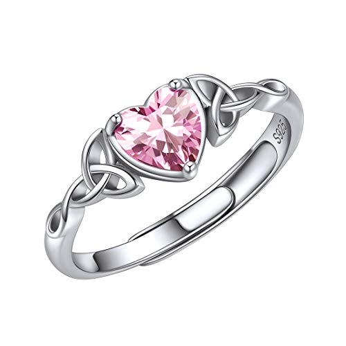 ChicSilver October Birthstone Jewelry 925 Sterling Silver Celtic Knot Sparkling Pink Tourmaline Heart Stone Rings Birthday Jewelry
