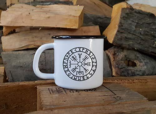 Betsy34Sophia WIKINGERKOMPASS Emaille-Becher Personalisierte Camp-Tasse Isl?ndischer Runen-Kompass Vegvisir Symbol Ragnar Nordische Rune Odin Skandinavier