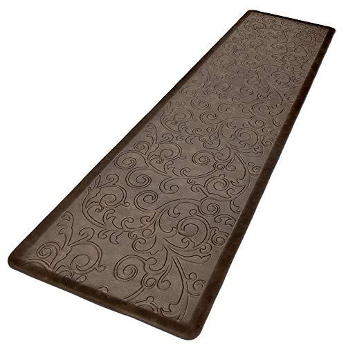 HEBE Kitchen Mat Cushioned Anti Fatigue Floor Mat Waterproof Non Skid Kitchen Rug Runner Ergonomic Floor Pad Comfort Standing Mat for Office,Sink,Laundry, 17.3' X 60',Brown