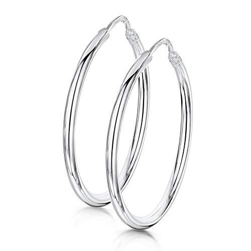 Amberta® 925 Sterling Silber Edle Ringe mit Scharnierbügel – Kleine runde Creolen Ohrringe - Durchmesse: 7 10 15 20 25 35 45 55 mm (25mm)